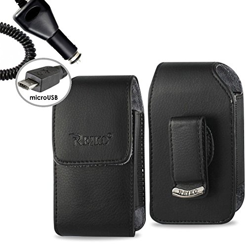 Cingular Leather (Vertical Leather Case with Magnetic closure and car charger for AT&T Alcatel Cingular Flip 2)