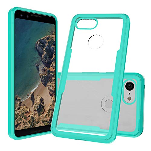 Pixel 3 Case, Maxessory Eclipse Teal Clear Scratch Proof, Anti-Scratch Glass Cover + 9H Tempered Glass Screen Protector + Silicone Bumper for Pixel 3 5.5 inch (2018)