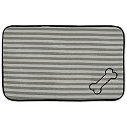 DII Bone Dry Stripe Embroidered Paw Print Pet Mat for Food, Water, Treats in Microfiber for Maximum Absorbency, Gray