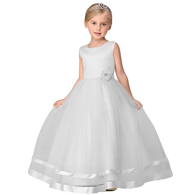 d38c60195e8c Tookang Vestito da Fiore della Bambina Matrimonio di Compleanno Damigella  d Onore Serata Formale Vestito A Fiori per Bambina  Amazon.it  Abbigliamento