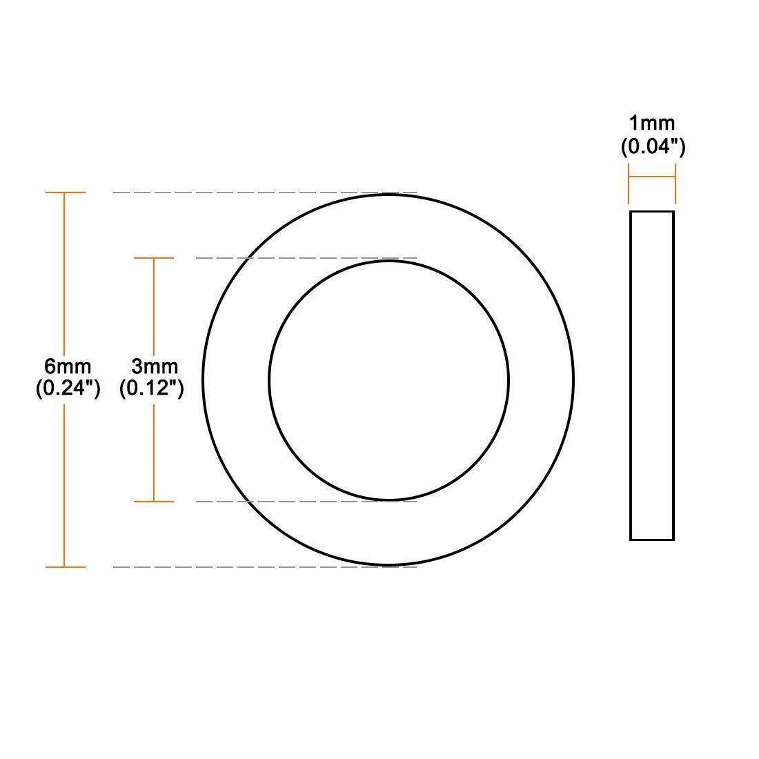 sourcing map Arandelas Planas De Nylon Para Tornillo Perno M14 De OD 27 mm Grosor 2,5 mm 50Pcs