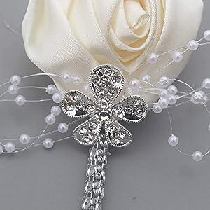 YOYOYU ART HOME DECOR 2 Pcs/Pack Wedding Corsages Boutonniere Groom Diamond Crystal Wedding Flowers Pearl Beaded Brooch Flowers (Cream) 2