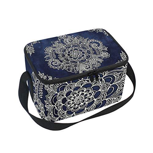 (Lunch Bag Cooler Tote Bag Cream Floral Moroccan Pattern On Deep Indigo Ink Lunchbox Meal Prep Handbag for Picnic School Women Men Kids)