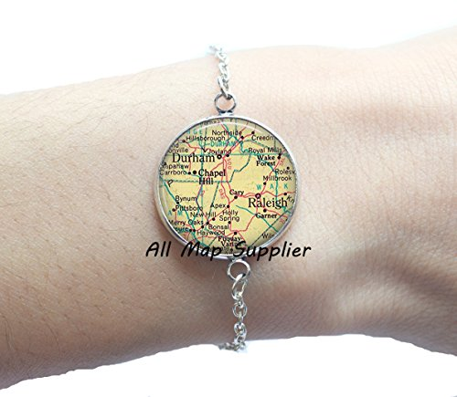 Charming Bracelet Raleigh, North Carolina map Bracelets, Durham map Bracelets, map jewelry, map - North Raleigh Stores Hills