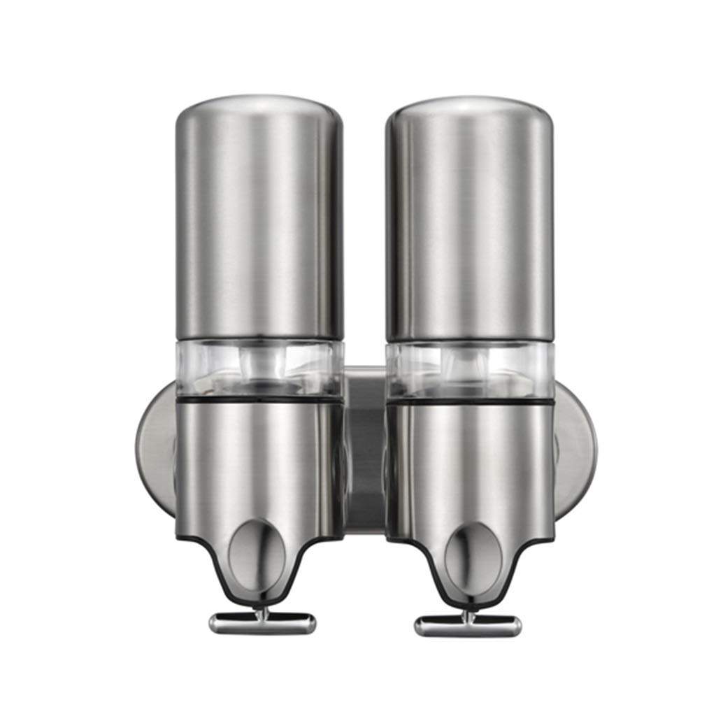 Ppy778 Soap Dispenser Shower Gel Bottle Wall Mounted Manual Double Head Rust Durable Corrosion Resistant Hotel Bathroom Stainless Steela (Color : Silver, Size : 24.126.110CM) by Ppy778