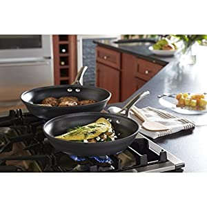 Calphalon Contemporary Hard-Anodized Aluminum Nonstick Cookware, Omelette Fry Pan, 10-inch and 12-inch Set, Black, New Version