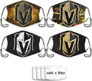 KIKIMEN 4Pcs VGK Vegas- Golden- Knights Logo Adult Bandanas Face Mask UV Protectio Neck Gaiter Headband - Dust