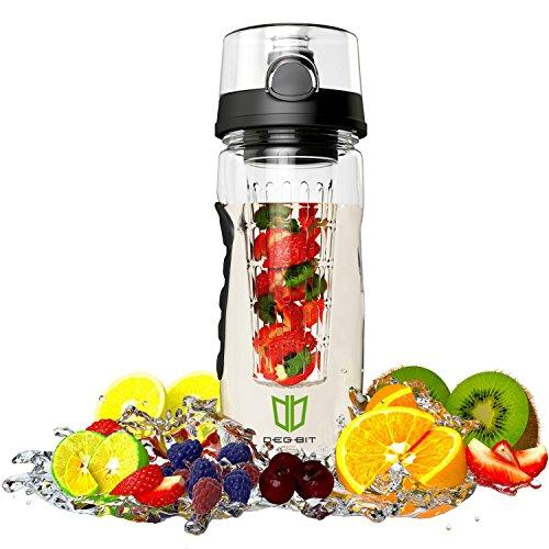Wasserflasche, DEGBIT® [BPA-freiem Tritan] Kunststoff Trinkflasche Sport, Flasche ca. 1L, Sportflasche Auslaufsicher, Trinkflaschen BPA Frei Infuser mit Verschluss & Tragehenkel, Wasserflasche Schwarz