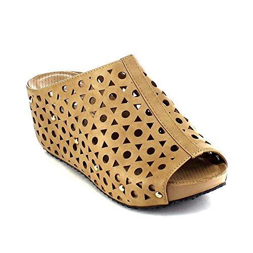 Refresh ELVA-07 Women's Slip On Stud Platform Cut Out Wedge Mule Sandals, Color:TAUPE, (Stud Platform Sandal)