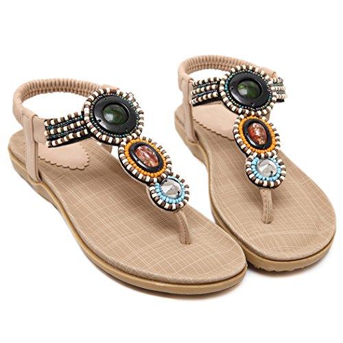 Dames Sandales pour Tongs pour Abricot Ruiren de Chaussures Plates Femmes D'été 7dw6gzxq