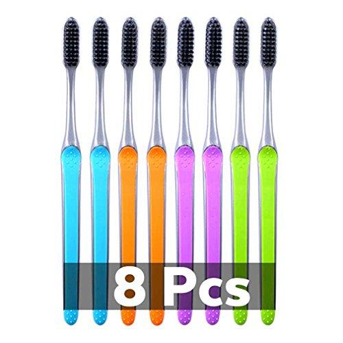 TOOTHBRUSH 4Pc/Pack Bamboo Charcoal Portable Manual Tooth Brush Nano Escova Dente Soft Bristle 8 Pcs