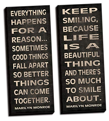 Gango Home Décor Everything Happens for A Reason and Keep Smiling Popular Marilyn Monroe Quote Typography; Two 8x20in Hand-Stretched Canvas (Everything Happens For A Reason Marilyn Monroe)