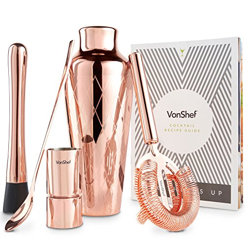 VonShef Brushed Copper Etched Parisian Cocktail Shaker Barware Set, with Recipe Guide, Includes Twisted Bar Spoon, Hawthorne Strainer, 0.5 Ounce and 1 Ounce Measuring Jigger and Wooden Muddler -