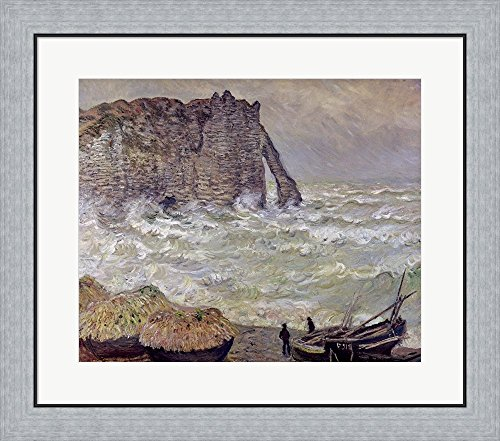 1883 Rough (Rough Sea at Etretat, 1883 by Claude Monet Framed Art Print Wall Picture, Flat Silver Frame, 27 x 24 inches)