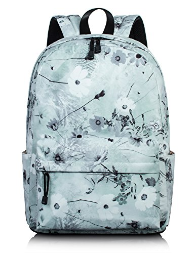Lovely Floral Backpack for Girls, School Bookbag Travel Daypack Laptop Bag by Leaper (Ash green)