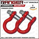 "Ranger 1/2"" Trade, 2 Ton Working Load Limit Screw Pin Anchor Shackle, Forged Steel, Galvanized, Powder Coat by Ultranger"
