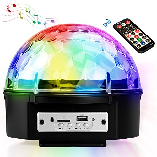 Belpink Disco Ball | LED Party Lights Crystal Magic Ball lighting for Birthday, Christmas, Disco, Dance, Home Party | Atmosphere and Mood Lamp with Sound Active and Remote (Large(6.7''))