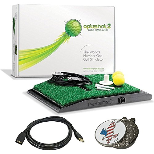 Optishot 2 Golf Simulator (Mac & PC) Bundle | Includes One (1) 15ft USB Extension Cable and 1 American Eagle Golf Ball Marker by optishot