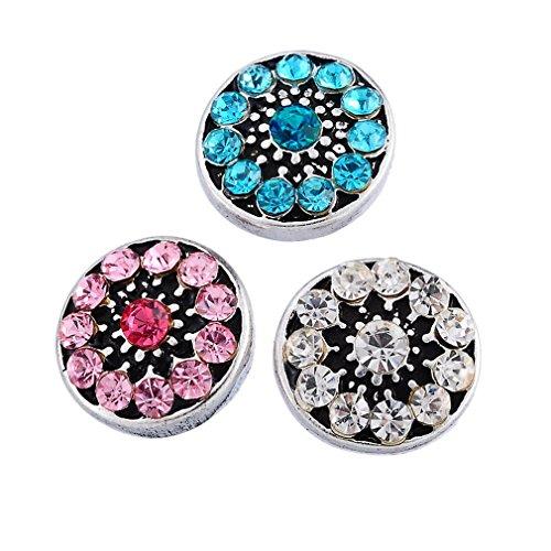 Souarts Mixte Mini Bouton à Pression pour Bracelet Chrysantheme Rhinestone Multicolore Rond 3pcs