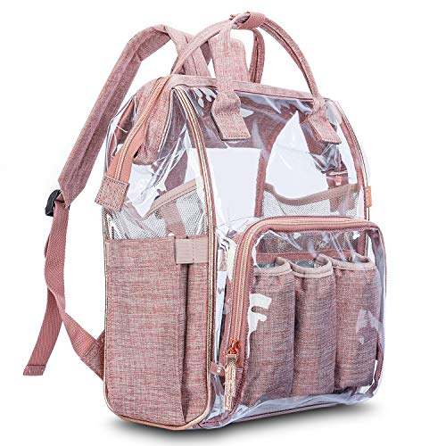 Mum Rose - Srotek Diaper Bag Backpack Large Clear Baby Bag Water-Resistant Baby Nappy Bag Travel Transparent Baby Backpack with Insulated Water Bottle Bag/Changing Pad for Women/Girls/Mum (Rose Gold)