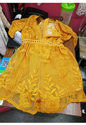 V Women's Short Long Yellow Neck Wicky short Style Romper Lace Sexy Dress LS Sleeve Low 8qRU5gw