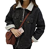 MORYSONG Women's Warm Button Down Long Denim Coat Outfit Classy Quilted Jeans Outerwear XL Black