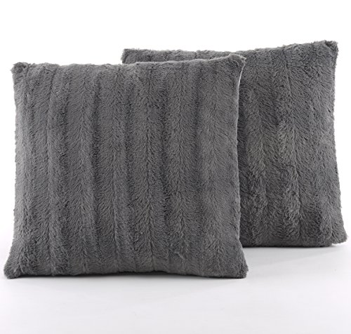 Grey Throw Pillow (Set of 2 Decorative Throw Pillows - Reversible Faux Fur to Microplush Accent Pillows by Cheer Collection - 18