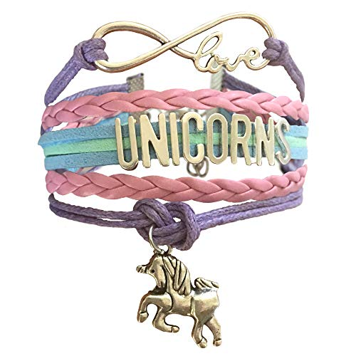 BAE Icons Infinity Unicorns Bracelet Gift for Girls, Unicorn Jewelry, Infinity Bracelet Unicorn Charm, Unicorn Gift, Birthday Gift for Girls, Gift Boxed(Purple Rainbow)