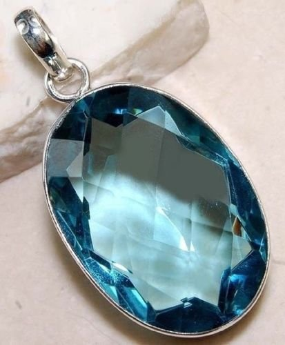 Phonphisai shop Vintage 925 Silver Filled Oval Cut Aquamarine Gemstone Necklace Pendant Jewelry