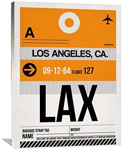 "Naxart Studio ""LAX Los Angeles Luggage Tag 2"" Giclee on Canvas, 30"" by 1.5"" by 40"" from Naxart Studio"