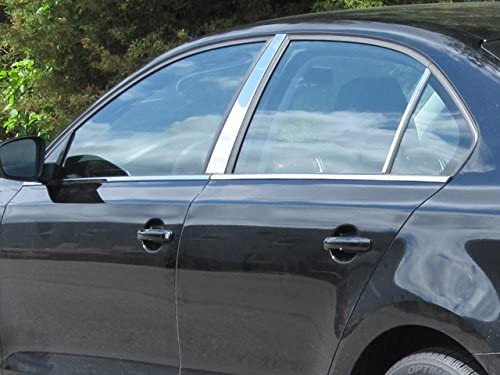 QAA fits 2011-2017 Volkswagen Jetta 6 Piece Stainless Window Sill Trim Set Includes Section in Front of Mirror WS11665