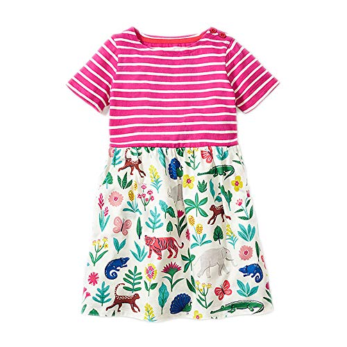 (Little Girl Summer Casual Dress - Flower/Unicorn/Bunny/Dinosaur Toddler Cotton Outfit Size 18M)