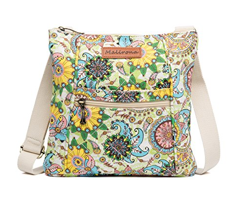 (Malirona Women Crossbody Purse Hipster Cross Body Bag Canvas Shoulder Handbag Floral Design)