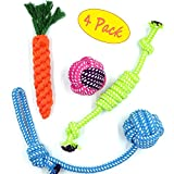 Dog Rope Toy 4 Pack Variety Interactive Game Cotton Chew Knotted For Medium and Small Doggie - FIRIK