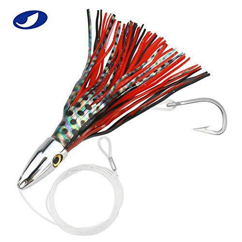 OCEAN CAT 1 PC 8 inch Copper Jet Head Trolling Lures Fishing Marlin Tuna Wahoo Offshore Inshore Game Octopus Skirts Trolling Lure (Black&Red) (Best Jet Games For Pc)