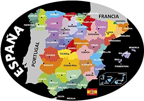 Artimagen Pegatina Oval Mapa Negro España 80x60 mm.: Amazon.es: Coche y moto