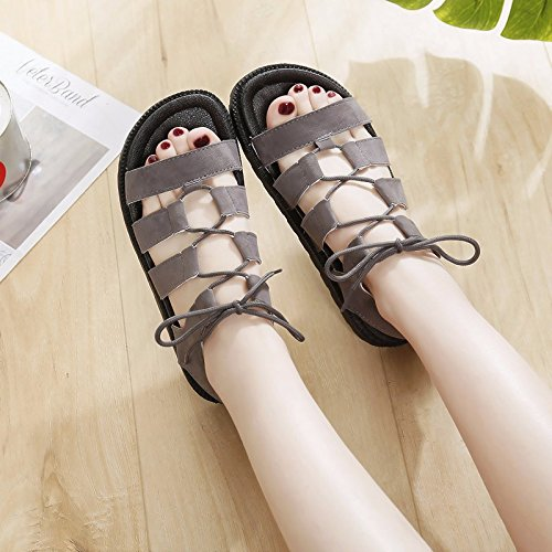 de mujer correa de de zapatos expuesto un tiene Ocean nuevo sandalias XIAOGEGE antideslizante plano Gris fondo Beach verano Elegante 1T6AE