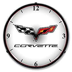 The Finest Website Inc. New C6 Corvette Logo Retro Vintage Style Advertising Backlit Lighted Clock - Ships Free Next Business Day to Lower 48 States