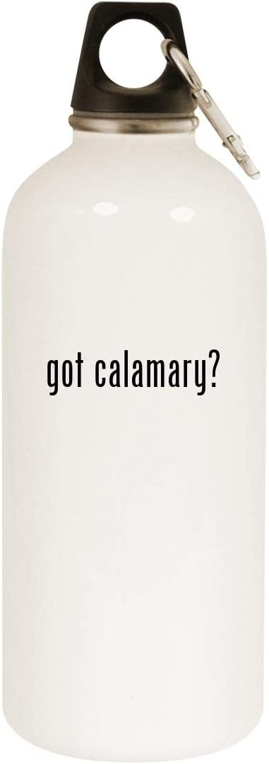 got calamary? - 20oz Stainless Steel White Water Bottle with Carabiner, White
