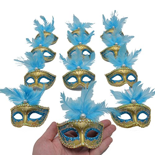 Yiseng Masquerade Masks Party Decorations 12pcs Set Feather Mini Masks Venetian Halloween Decor Novelty Gifts (Turq)]()