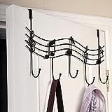 yodaliy Door Hanger, Vintage Music Note Metal Hook, Multifunction Coat Hat Bag Wall Hook Hanger Organizer Holder with 5-Hook for Home Kitchen Bathroom Bedroom