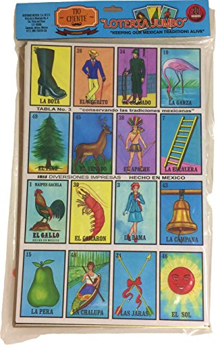 Tio Chente Mexican Bingo Loteria Family Board Game - Set of 20 Jumbo Boards and Deck of 54 Cards (Loteria Mexican Bingo)