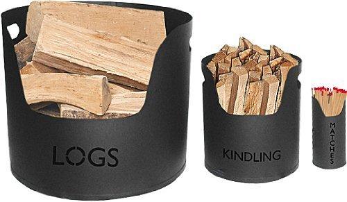 Log, Kindling & Matches Tubs (set) Metal black Bucket log holder fireplace accessories fireside set Log basket and kindling gift by Galleon fireplaces