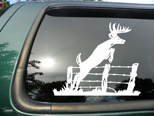 Deer Jumping Fence- Die Cut Vinyl Window Decal/sticker for Car or Truck 5.5
