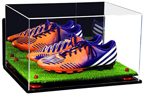 Better Display Cases Acrylic Large Shoe Pair Display Case for Basketball Shoes Soccer Cleats Football Cleats with Mirror, Wall Mount, Red Risers and Turf Base (A082-RR)
