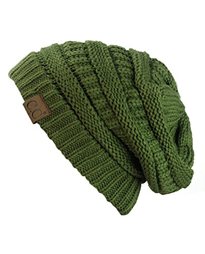 C.C Trendy Warm Chunky Soft Stretch Cable Knit Beanie Skully, (Knit Hat Olive)