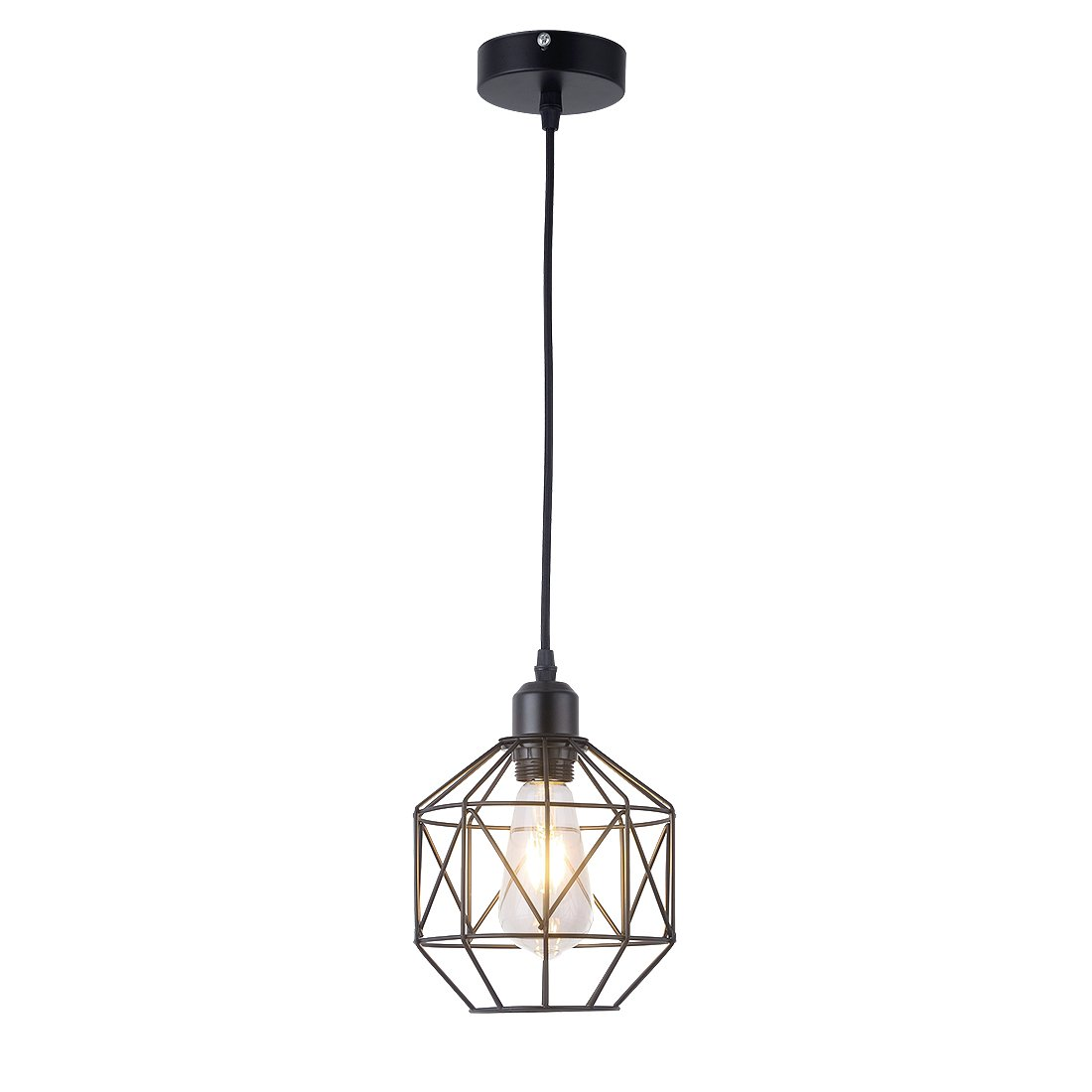 Pendant Light,Retro Style,Vintage Loft Design,Black Basket Cage Hanging Ceiling Lamp,Industrial Lighting Fixture and Decoration for Living Room Bedroom