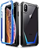 iPhone Xs Max Case, Poetic Guardian [Scratch Resistant Back] Full-Body Rugged Clear Hybrid Bumper Case with Built-in-Screen Protector for Apple iPhone Xs Max 6.5'' OLED Display - Blue
