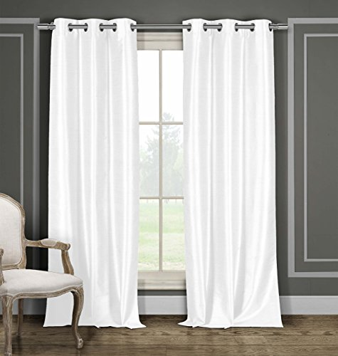Duck Curtain Panel - DUCK RIVER TEXTILES - Bali Faux Silk Grommet Top Window Curtain 2 Panel Drape, 38 X 84 inch, White