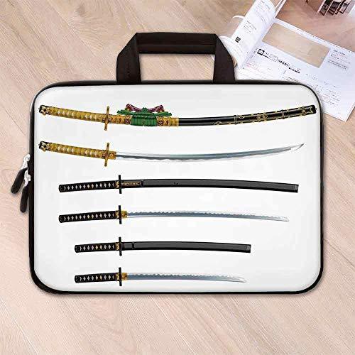 Japanese Anti Seismic Neoprene Laptop Bag,Curved Slender Single Edged Blade Japanese Swords Katana Historical Guard Image for Travel Office School,17.3''L x 13''W x 0.8''H